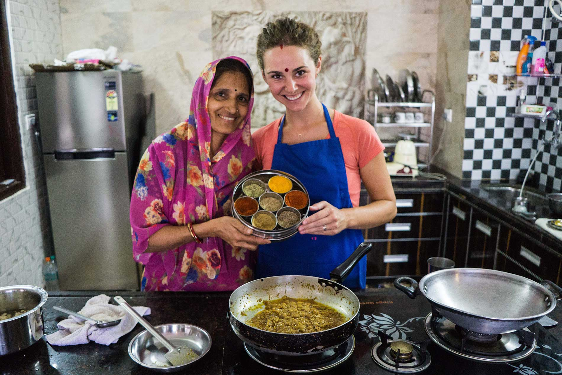 Shashi cooking class in Udaipur, India.