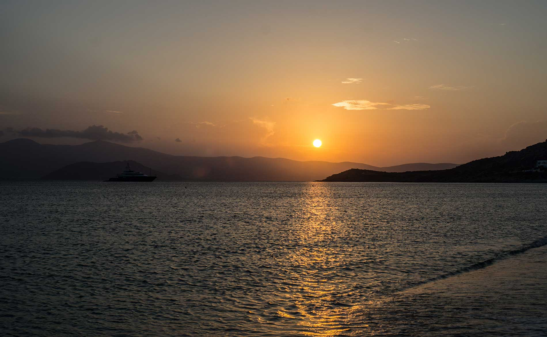 Sunset over Naxos, Greece.
